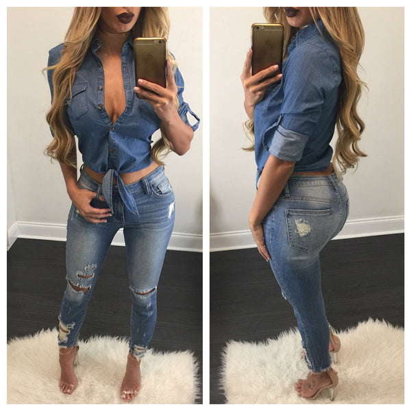 Wendy Distressed Calf Length Jeans - Diva Boutique Online - 1