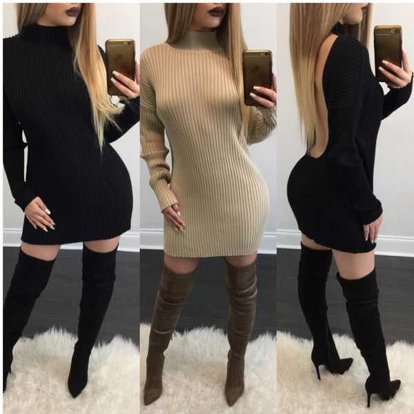 Laura Open Back Turtleneck Dress / Top - Diva Boutique Online - 1