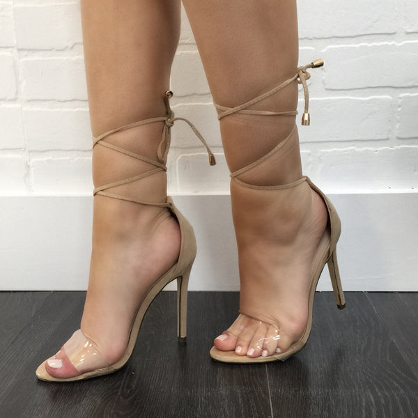 Clearly Laced Up Nude Heel