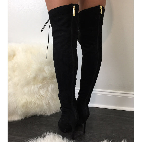 All Tied Up Black Boots - Diva Boutique Online - 2