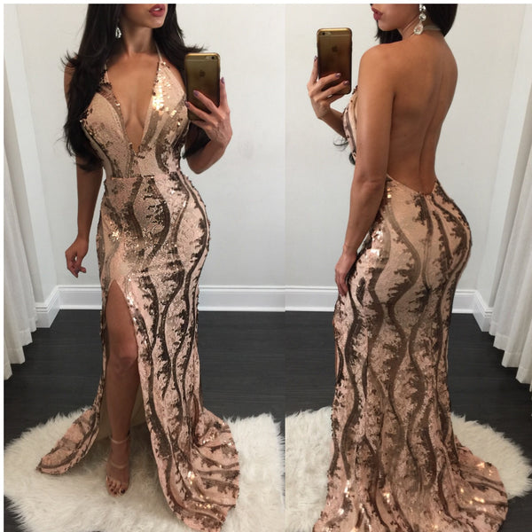 Chantel Open Back Bronze Sequin Gown - Diva Boutique Online