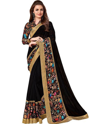 Black Printed Georgette Saree With Zari Patch Border