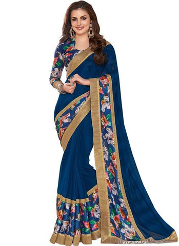 Blue Printed Georgette Saree With Zari Patch Border