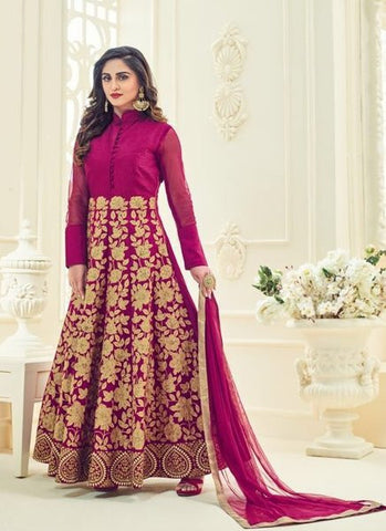 Silk Embroidered Purple Anarkali Suit