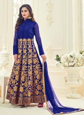 Silk Embroidered Blue Anarkali Suit