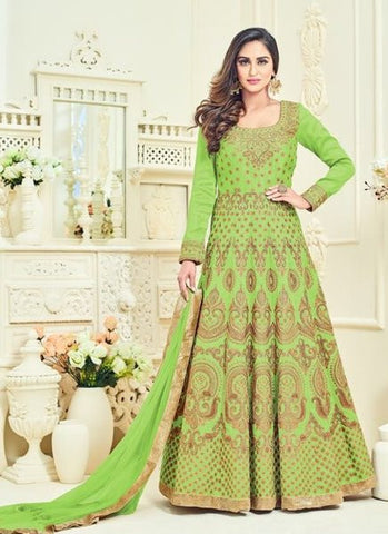 Silk Embroidered Green Anarkali Suit