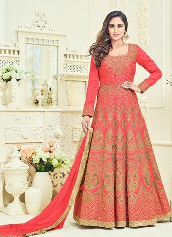 Silk Embroidered Coral Anarkali Suit