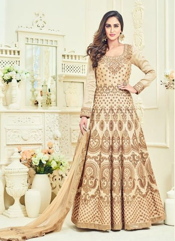 Silk Embroidered Cream Anarkali Suit