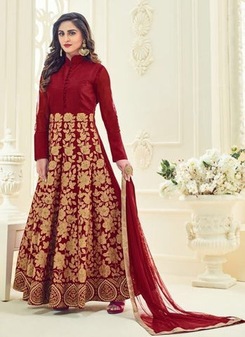Silk Embroidered Maroon Anarkali Suit