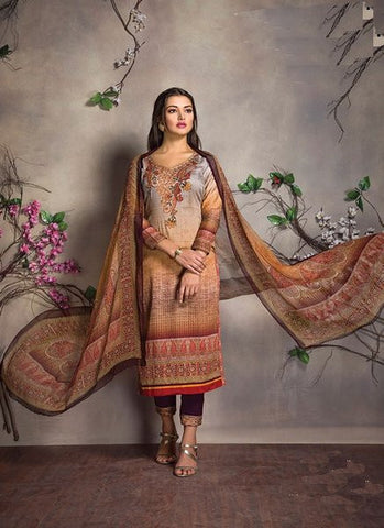 Cotton Satin Digital Printed Embroidered Salwar Kameez