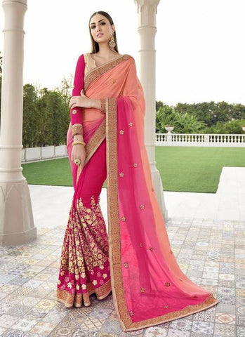 Georgette Embroidered Pink Peach Saree