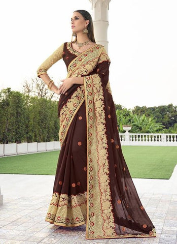 Georgette Embroidered Brown Beige Saree