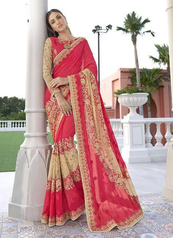 Georgette Embroidered Pink Beige Saree