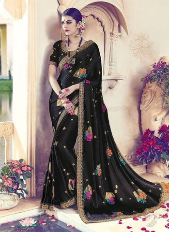 Black Silk Embroidered Saree