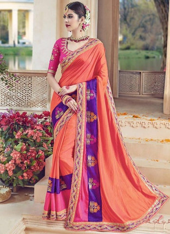 Coral Silk Embroidered Saree