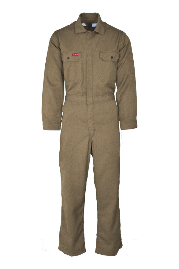 Khaki lightweight coveralls, frc coveralls, fr jumpsuit