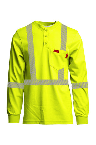Hi-Viz FR Henley Shirts | Reflective Clothing | 7oz. Inherent Blend | Class 2 - www.lapco.com