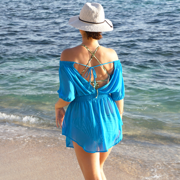 Isla Smocked Off-The-Shoulder Swimsuit Cover-up Tunic