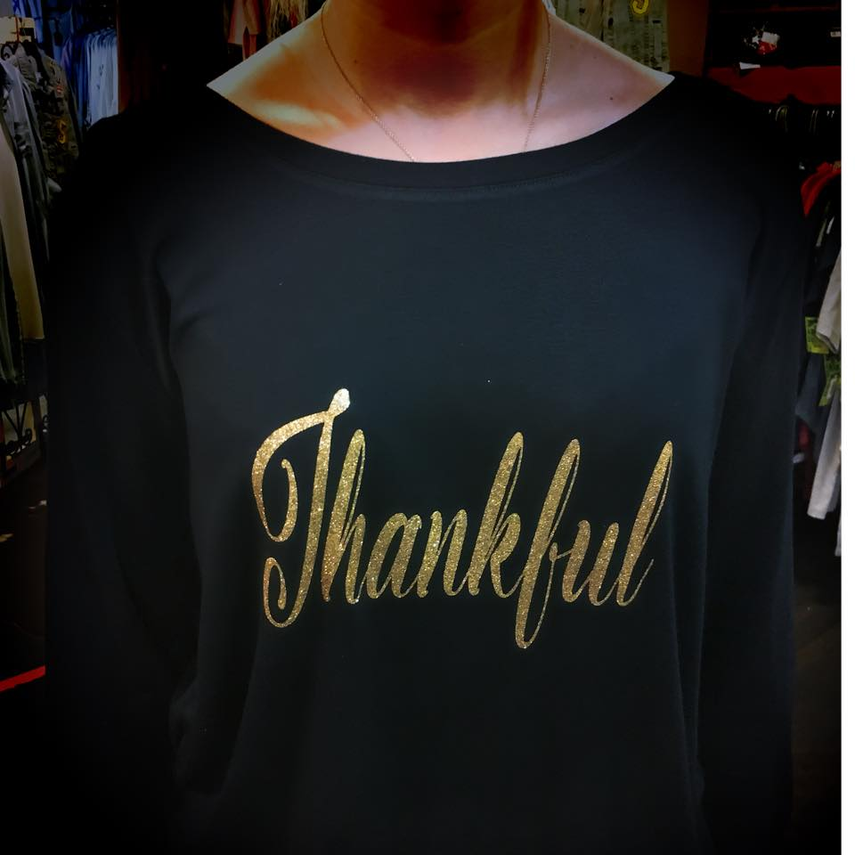 Thankful Wide Neck Long Sleeve