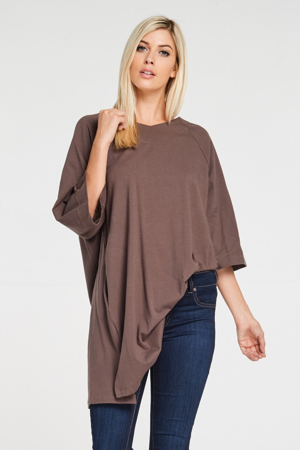 3/4 Sleeve Cotton Tulip Tunic Top