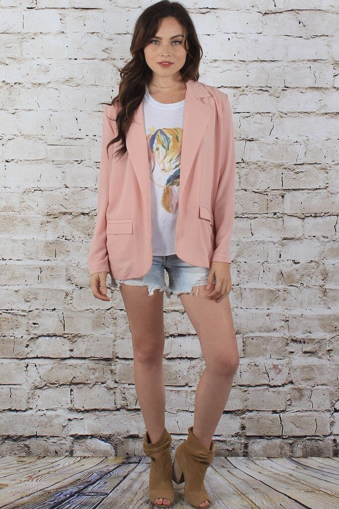 Blush Light Weight Blazer w/ Pockets