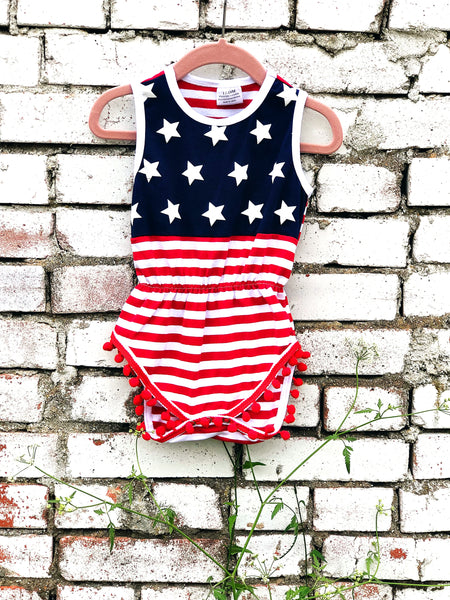 USA Flag Printed Romper