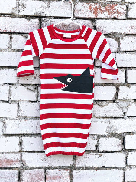 Red & White Stripped Baby Gown