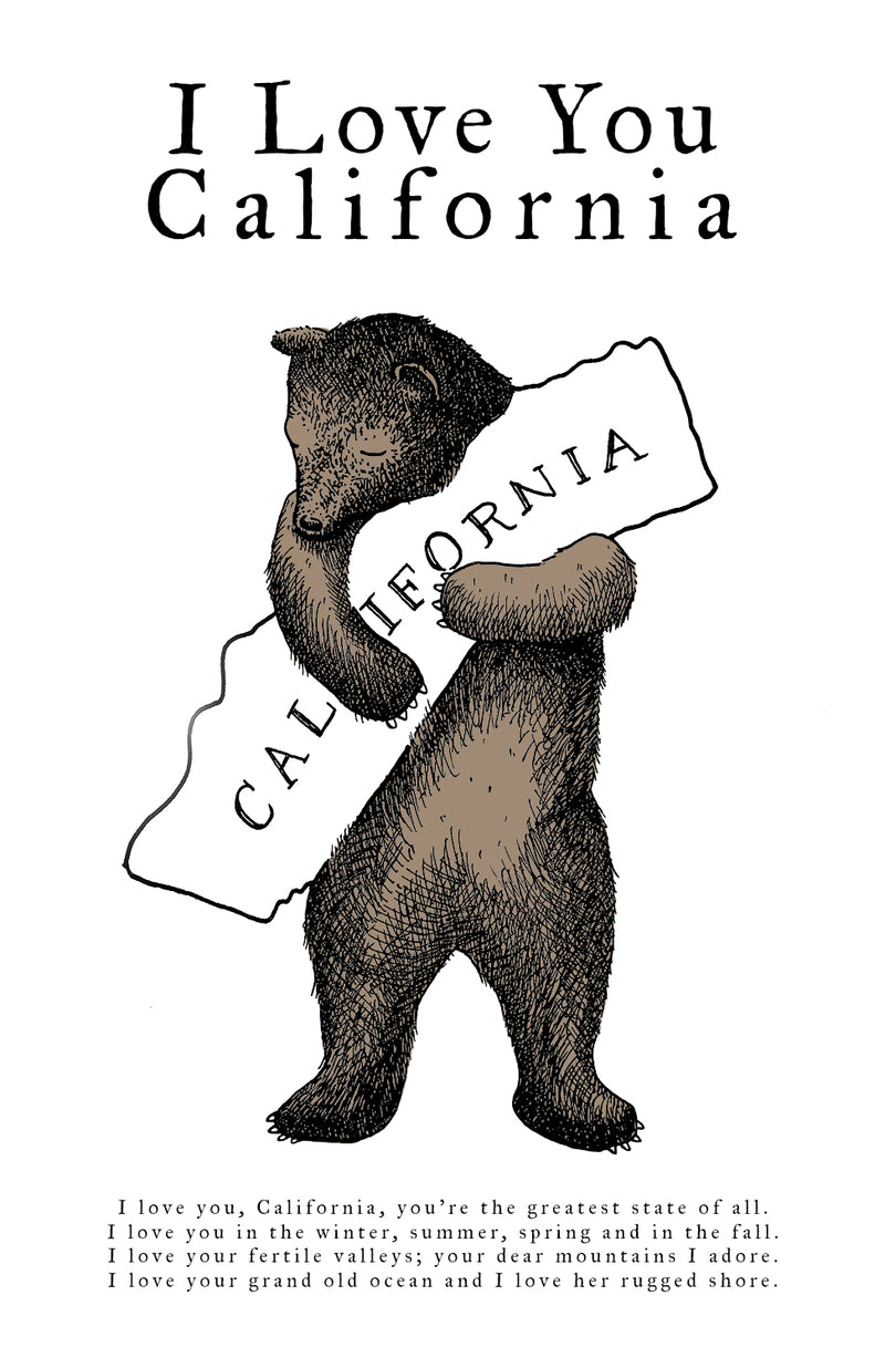 I LOVE YOU CALIFORNIA BEAR PRINT