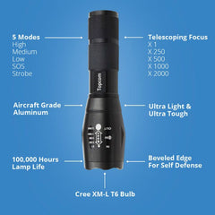 Military Grade Tactical Flashlight with Case