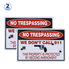 Metal 2nd Amendment No Trespassing Sign