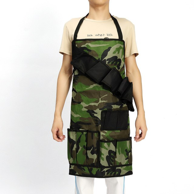 Camouflage Outdoor Barbecue Picnic Apron Multifunction Waterproof BBQ Grill Beer Condiment Holder multi-pockets Utensil Set