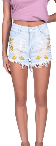 Embroidered Fray Shorts