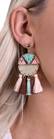 Aztec Tassel Earrings - Peach