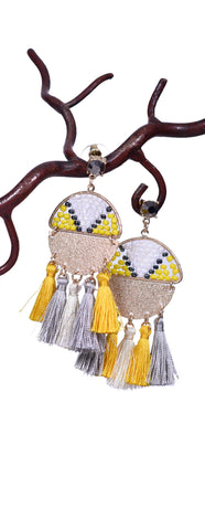 Aztec Tassel Earrings - Yellow