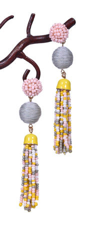 Beaded Tassel Earrings - Yellow