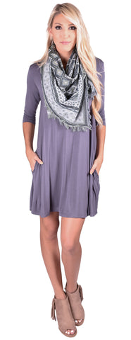 Piko Boatneck Swing Dress- 4 Colors