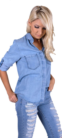 Chambray Me Happy Top