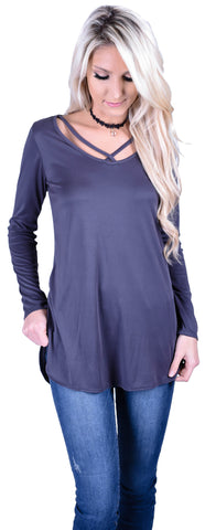 Cross Your Heart Top- Charcoal