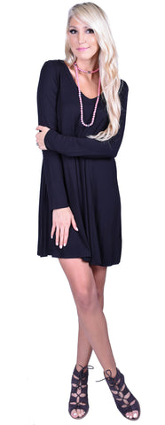 Double V Swing Dress- Black
