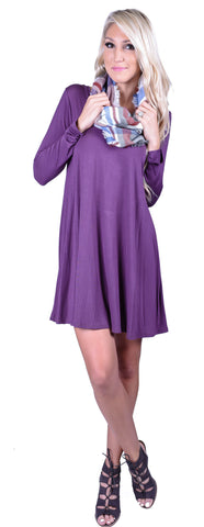 Double V Swing Dress- Plum