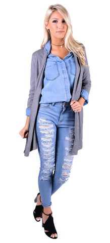 Forever Fall Cardi - Charcoal