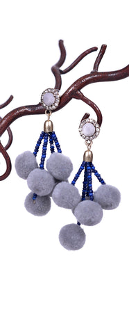 Girly Pom Pom Earrings - Gray