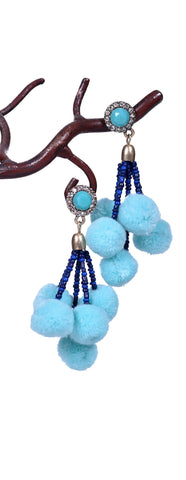 Girly Pom Pom Earrings - Mint