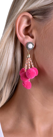 Girly Pom Pom Earrings - Pink