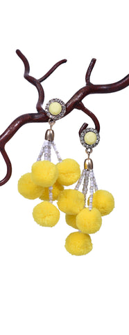 Girly Pom Pom Earrings - Yellow