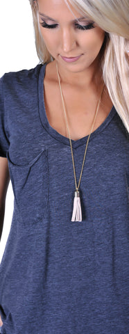 Leather Tassel Necklace- Beige