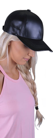 Lulu Leather Hat- Black