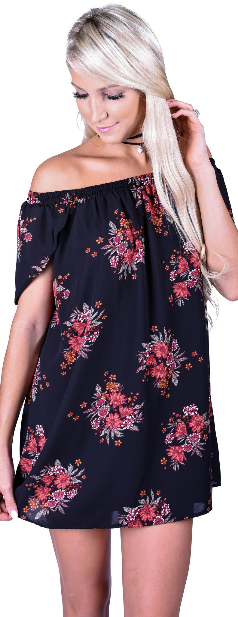 Midnight Floral Dress-Black
