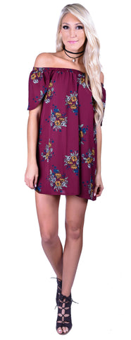 Midnight Floral Dress-Plum