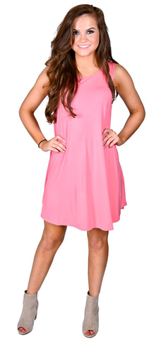 Piko Sleeveless Swing Dress- Pink